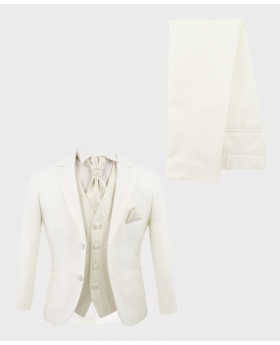 Boys Communion Tailored Fit white 6 piece suit with  ivory waistcoat  matching cravat and hankie open front picture