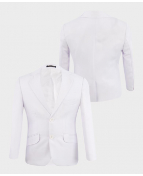 Boys Communion Tailored Fit  white jacket front  and  back pictures