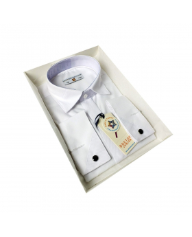 Boys Classic Collar  Cufflink Shirt in White  side picture