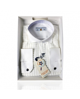 Boys Premium Wing Collar Square Pleated Cufflink Shirt in Cream front picture