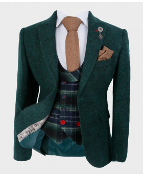Boys Dark Green Wool Tweed Blazer Jacket with shirt tie and hankie