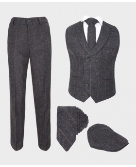 Boys Dark Grey Herringbone Tweed Check Double Breasted Casual Formal Waistcoat suit set