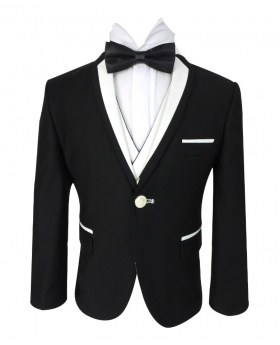 Closed view of the blazer jacket from the Boys Exclusive Black & White Single Button Tuxedo Suit