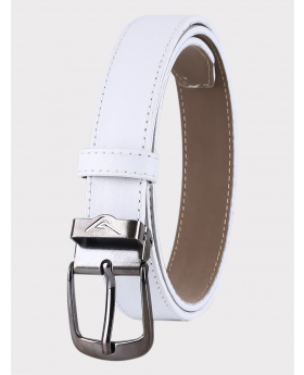 Boys Faux Leather Mat White Belt front picture