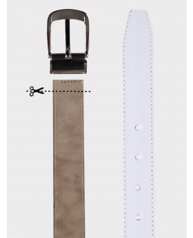Boys Faux Leather Mat White Belt details picture