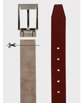 Boys Faux Leather Patent Burgundy Belt details picture