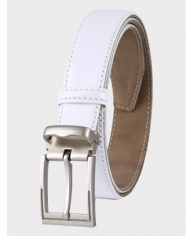Boys Faux Leather Patent White Belt front picture