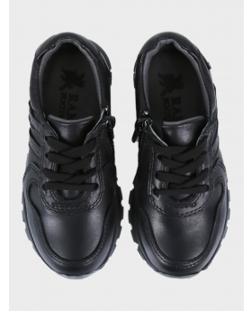 Boys Genuine Leather Casual Shoes in Black pair front picture