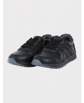 Boys Genuine Leather Casual Shoes in Black side pair picture