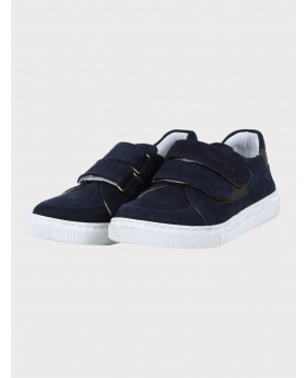 Boys Genuine Leather Casual Sneaker Shoe in Navy Blue and Grey side picture