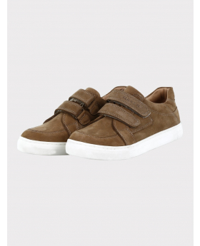 Boys Genuine Leather Casual Sneaker Shoe in Tan Brown pair side picture