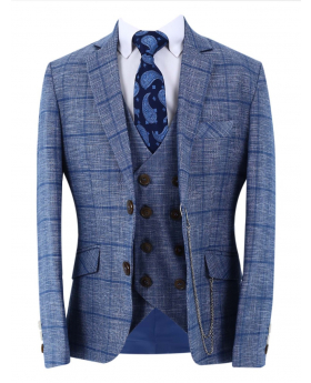 Boys Herringbone Check Slim Fit Jacket with double-breasted waistcoat and accessories front picture