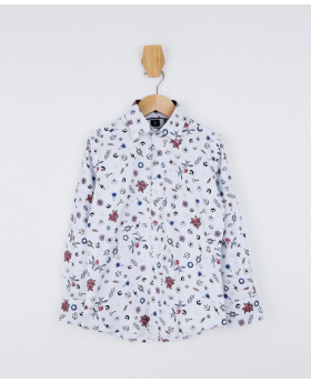 Boys Slim fit Multicolor Printed White Fashion Shirt Front detail picture