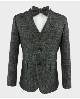 Boys Latte Grey Tailored Fit Tweed Complete Suit Set-Closed
