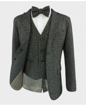 Boys Latte Grey Tailored Fit Tweed Complete Suit Set with a matching bow tie