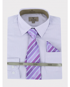 Boys Vianni Cotton Blend Long Sleeve Lilac Shirt, Tie and Hanky Set-Classic Collar