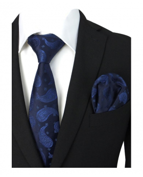 Boys & Men Paisley Formal Dress Suit Tie and Hanky Set in Navy for Special Occasion with Shirt and Jacket