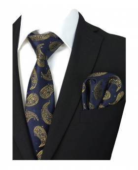 Boys & Men Paisley Diamond Printed Formal Tie and Hankie Set in Navy Blue and Gold for special occasions, suit shirt