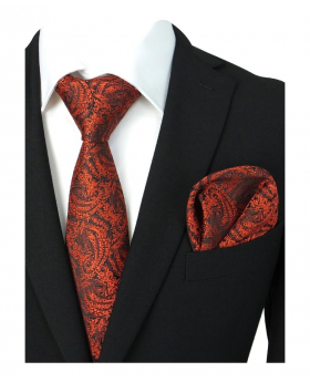 Boys & Men Paisley Swirls Formal Tie and Hanky in Red for Weddings and Special  with Shirt and Suit Jackt