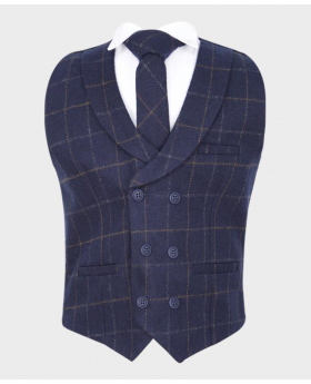 Boys Navy Blue Tweed Check Double Breasted Casual Occasion Dinner Waistcoat with matching tie & shirt