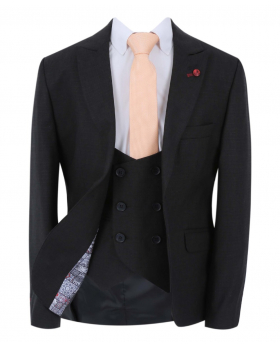 Boy's Windowpane Check Slim Fit Suit Formal Jacket and double-breasted waistcoat in Black with accessories open front picture