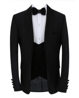 Boys Page Boy Tuxedo Slim Fit Jacket with double-breasted waistcoat and accessories in Black front picture
