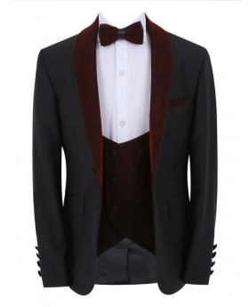 Boys Page Boy Tuxedo Slim Fit Jacket and double-breasted waistcoat with accessories in Black and Burgundy front picture