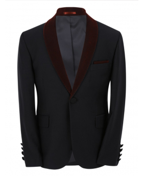Boys Page Boy Tuxedo Slim Fit Jacket in Black and Burgundy front picture
