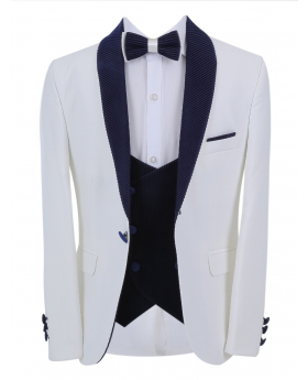 Boys Page Boy Tuxedo Slim Fit Jacket with double-breasted waistcoat and accessories in White andNavy Blue front picture