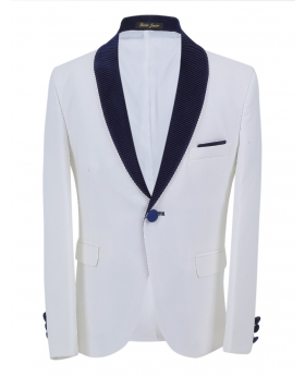 Boys Page Boy Tuxedo Slim Fit Jacket in White andNavy Blue front picture