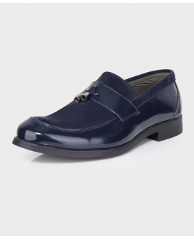 Boys Patent & Suede Loafers in Navy Blue