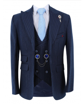 Boys Pinstripe Slim Fit Suit Vintage jacket with double-breasted waistcoat and accessories  in Navy Blue front picture