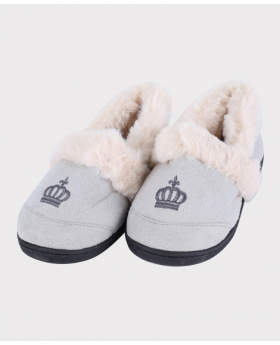 Boys Plush Comfortable Crown Slippers in Cream Grey Side Front Picture