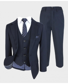 Boys Regular Fit Suit 6 Pieces Wedding Prom Set in Navy Blue