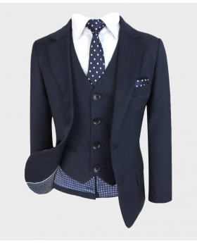 Boys Regular Fit Blazer Jacket and single-breasted waistcoat with navy blue polka tie and hankie Front Open picture