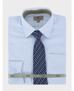 Boys Vianni Cotton Blend Long Sleeve Sky Blue Shirt, Tie and Hanky Set-Classic Collar