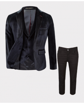 Boys Slim Fit Velvet 3 piece  Suit with Elbow Patches in Black