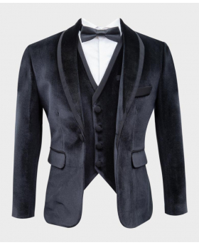 Boys Slim Fit Velvet Tuxedo Blazer Jacket picture