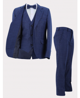 Boys Suit 4 Piece Textured Check Formal Set in Blue