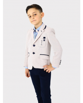 Boys Suit 5 Piece Textured Tweed-Like Formal Complete Set in Beige Side Picture