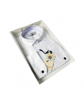 Boys Premium Wing Collar Square Pleated Cufflink Shirt in White side picture