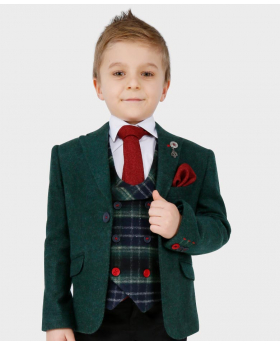 Boys Tailored fit Cashmere Wool Blend Blazer Waistcoat Set in Forest Green - Front Blazer with shirt, tie and hankie -button on - model