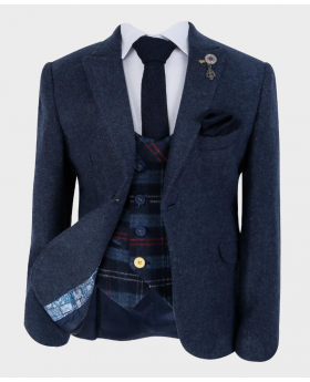 Boys Tailored fit Cashmere Wool Blend Blazer Waistcoat Set in Navy Blue - Front Blazer with shirt, tie and hankie - Fully Lined