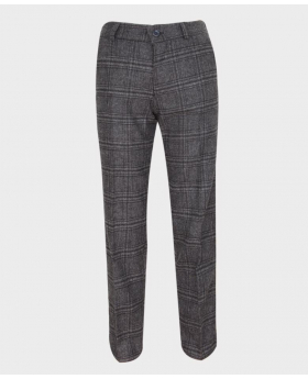 Boys Tailored Fit Charcoal Grey Tweed Check Suit Trousers-front