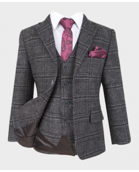 Boys Tailored Fit Charcoal Grey Wedding Prom Occasion Tweed Check Sui-notch collar