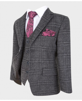 Boys Tailored Fit Charcoal Grey Wedding Prom Occasion Tweed Check Suit-side