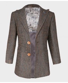 Boys Tailored fit Flecked Donegal Tweed Brown Overcoat Jacket -full lining-halph patterned-open  blazer