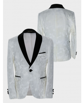 Boys Tailored fit Floral Patterned Ivory Tuxedo Blazer Jacket  Front and back Picture