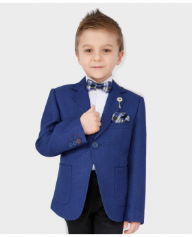 Boys Tailored fit Textured Knitted Blazer Jacket in Royal Blue with tie,hanky and shirt