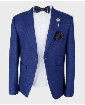 Boys Tailored fit Textured Knitted Blazer Jacket in Royal Blue with bowtie,hanky and shirt